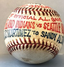 A baseball from the first game at Jacobs Field.