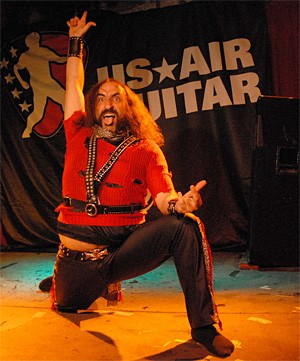 U.S. Air Guitar Championship hopeful kicks axe at the Grog Shop. - WANDA SANTOS-BRAY