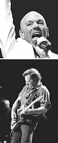 Voting for change: R.E.M. frontman Michael Stipe and - Bruce Springsteen, October 2 at Gund Arena. - WALTER  NOVAK