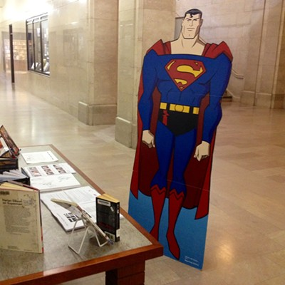 Where's Superman? 10 Funny Photos of Superman Hanging Out at the Cleveland Public Library
