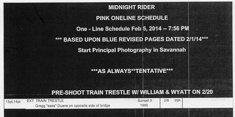 """A blow-up of the portion of the Midnight Rider call sheet that seems to disprove the initial contention that the tragic shoot was just a camera test; """"William & Wyatt"""" refers to actors William Hurt and Wyatt Russell."""