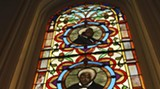 A stained glass window in the sanctuary of First African Baptist commemorates the church's key trio of historic figures.