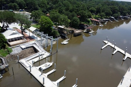 Aerial view of the new Coffee Bluff Marina, right before its first 'grand reopening' in August 2014.