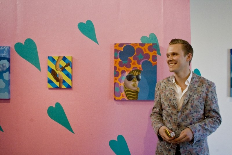 Artist Ben Tollefson at the opening of his exhibition 'The Distance That Separates One Person's Heart From Anothers' at Art Rise Exhibitions.