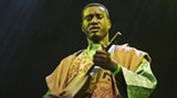 Bassekou Kouyate plays the n'goni, an African lute–like instrument that is an ancestor to the banjo