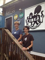 Beth Howells (l.) and Jane Wood offer up strong coffee and local art at the Tybean off Hwy 80.