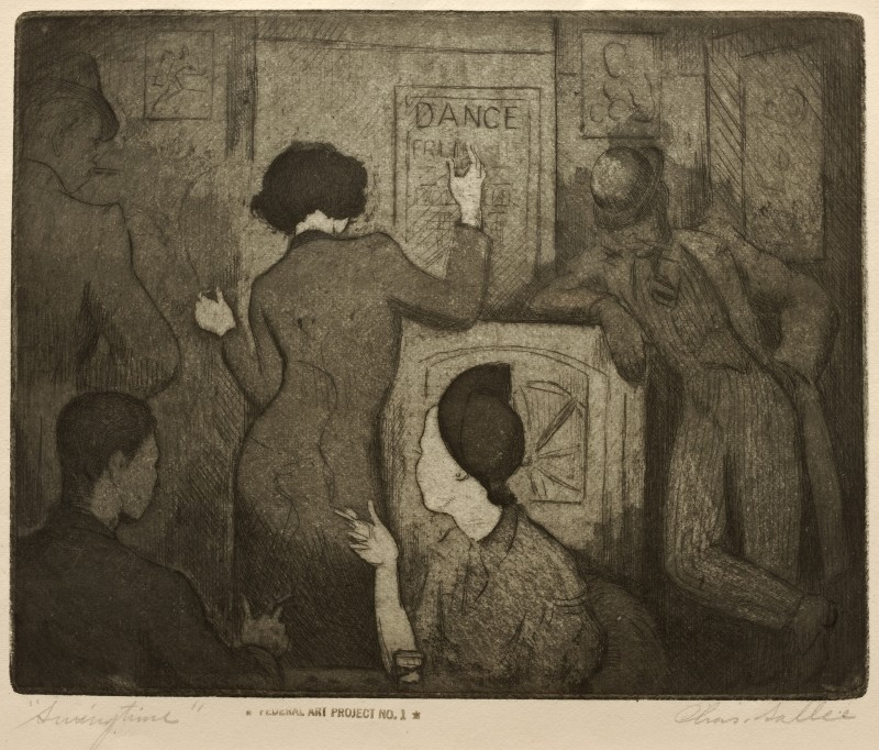 Charles Sallee (American, 1911-2006), Swingtime, 1937. Aquatint, etching on wove paper. On loan from the Howard University Gallery of Art, Washington, D.C.