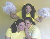 Cheerleaders Kathy (Ashley Robinson) and Joanne (Stefanie Selai) share - a secret while Mary (Jordyn Schafer) cheers her friends on