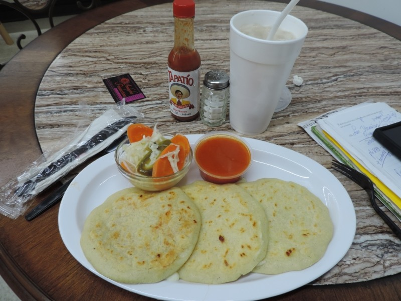 Cheese Pupusa & Frijoles Pupusa w/ curtido slaw, Ceviche Tostada, Salvadoran Horchata to drink.
