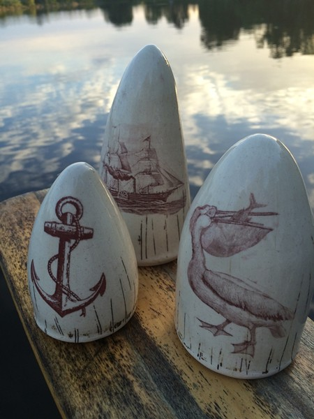 Clair Buckner's whale-free ceramic scrimshaw pieces