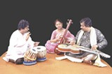 Debashish Bhattacharya, far right, plays a number of specially designed, one-of-a-kind  custom-made guitars