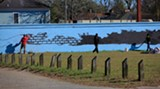 Early in the week, the mural takes shape at 34th and Habersham