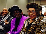 Former Harris Neck residents Mary Moran (r.) and Olive Smith (center) attended a symposium addressing their right to return at Savannah State last week.