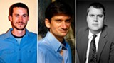 From left: Seersucker Live co-founder Zach Powers, authors Jonathan Rabb and Daniel Handler
