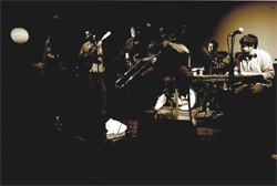 Groovesect shown here backing up James Brown trombonist Fred Wesley (he will not be appearing at this Savannah gig)