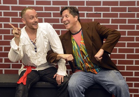 Jesus (Ryan Ahlert) and John the Baptist (Gary Stickland) ham it up.