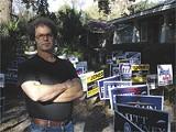 ROBIN WRIGHT GUNN - Joel Varland at his Parkside political garden