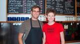 Jordan and Jennifer behind the bar at Foxy Loxy
