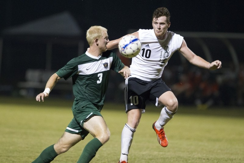 Jordan Trinci-Lyne (no. 10) on the pitch. The forward is a native of Chester, England. Photo courtesy of SCAD