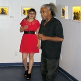 Meadows introducing Flotte prior to her talk at the reception of her exhibition, 'In the Spiritual Realm' at Indigo Sky Community Gallery in May 2012.