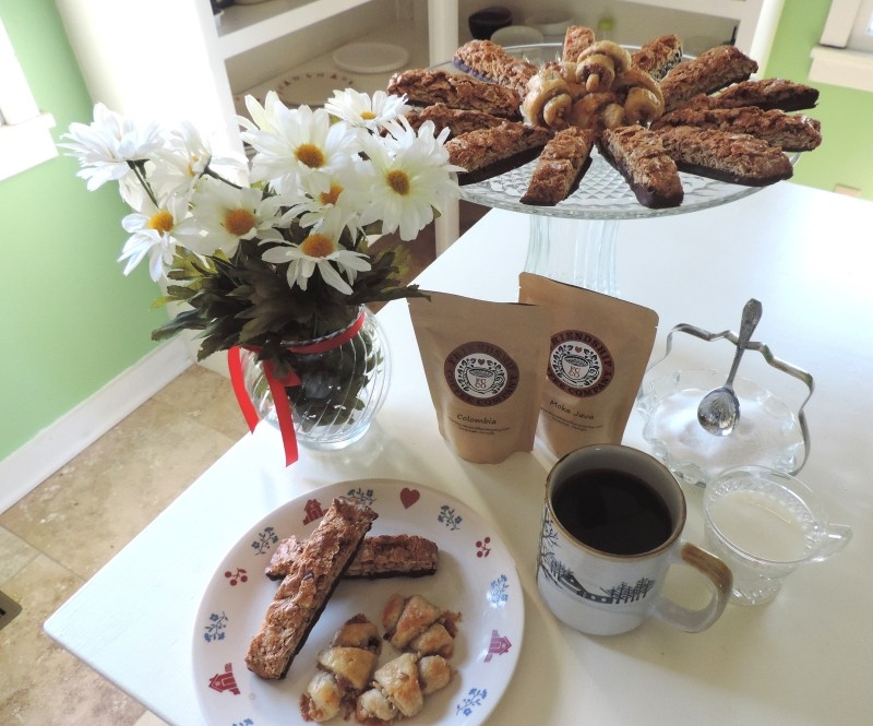 Morning cuppa Friendship Coffee with chocolate-dipped Orange-Almond Biscotti & Apricot-Walnut Rugelach