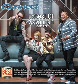 Our cover this year was shot by Best Local Photographer Geoff L. Johnson. The set was Best New Restaurant Winner The Grey. From left to right: Best Bartender Tony Beasley of The Jinx; Maggie Lee Hart, Best Actress; Jose Ray, Best Visual Artist and Best Local Book Winner; Leslie Adele of Best Local Funk/R&B/Soul Band Nickel Bag of Funk