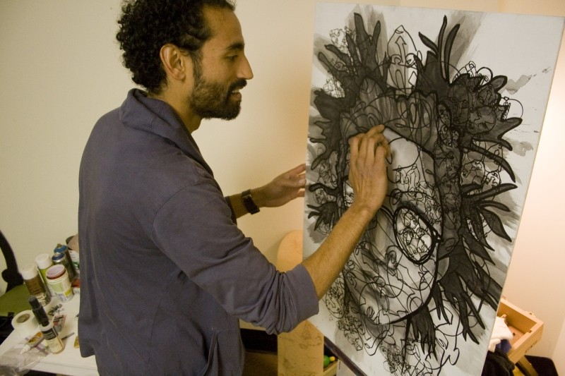 Perez at work in his studio