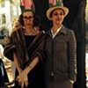 """Sing along now: """"I love a parade..."""" Artist Katherine Sandoz (left) marched as Flannery O'Conner with nattily-dressed organizer Christine Sajecki."""