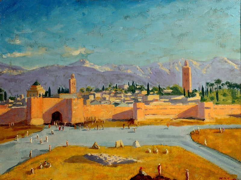 Sir Winston S. Churchill, The Tower of Katoubia Mosque, 1943, Oil on Canvas - 20 x 24 in Collection of Brad Pitt and Angelina Jolie, ©Churchill Heritage Ltd, with kind permission of Churchill Heritage Ltd
