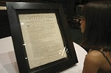 Sophia Morekis views the rare copy of the Declaration at Hodgson Hall