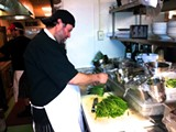 Sous chef Alfredo Soto executes dishes from the exciting menu developed by Executive Chef Brian Palefsky at 45 Bistro, located inside the Marshall House on Broughton Street.