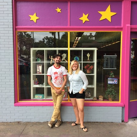 Starlandia Creative Supply entrepreneurs Clinton Edminster and Heather MacRae-Trulson are painting the town fuchsia, starting with the corner of Bull and 41st streets in the reclamation-friendly Starland District. - RAINE RAINE