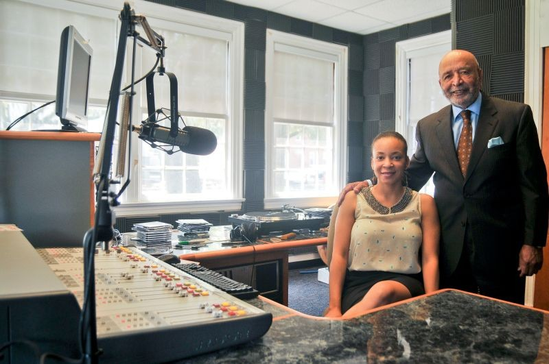 Station Manager Ike Carter and Assistant Director Grace Curry in the studio at Savannah State University