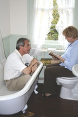 Stratton Leopold and Rena Patton reenact O'Connor's forcing of friends and family to listen to her stories -- even in the bathroom