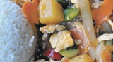 Sweet Sour Siam: sauteed chicken, pineapple, cucumber, onion, green onion and tomato in a sweet and sour sauce