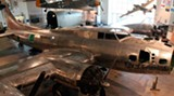 "The B-17 ""City of Savannah,"" undergoing restoration at the Mighty Eighth Air Force Museum in Pooler"
