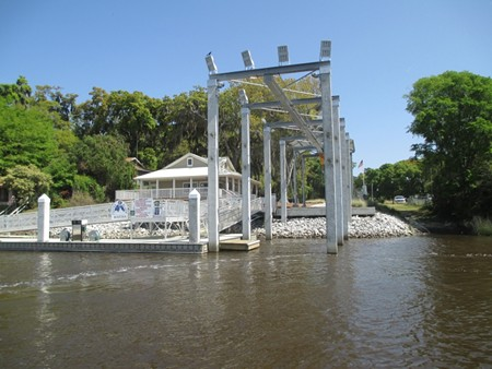 The hoist. You can see the small wooden platform dock that Ray Golden and Jerry Case constructed for the safety of boaters.