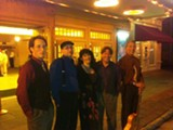 The Hot Club of San Francisco in a candid shot in front of the Lucas before the show.