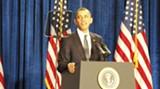The Prez at the podium....