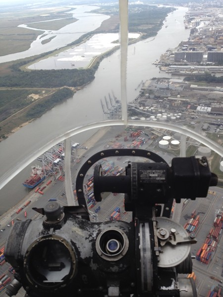 The view from the bombardier's Norden bombsight over the Savannah waterfront