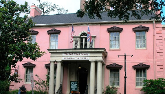 The warm and inviting front of The Olde Pink House, in Historic Downtown Savannah.