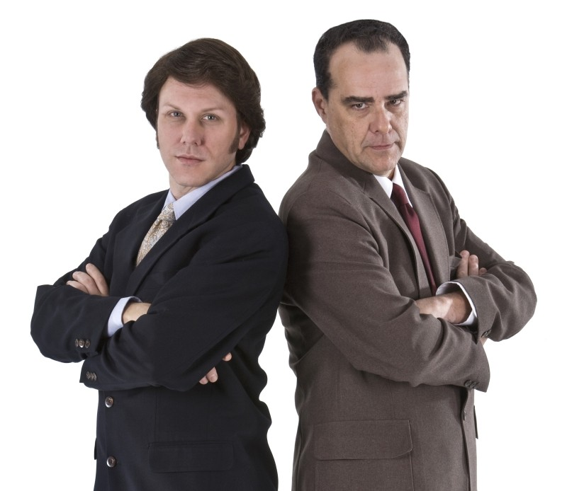 The wonderful Christopher Blair and me as David 'n' Dick in Frost/Nixon (2011), which we did at Muse Arts Warehouse. I loved this production. Photo by Bailey Davidson