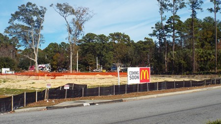 This is what became of the former tree buffer between the Walmart parking lot and Montgomery Cross Road.