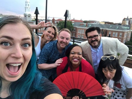 Best Local Photographer Megan Jones, left, takes a group selfie at the Peregrin rooftop lounge with our cover models: Jenny Butcher, Travis Coles, Ally BamBam Shakes, Joshua Yates, and Jessica Leigh Lebos - PHOTO BY MEGAN JONES