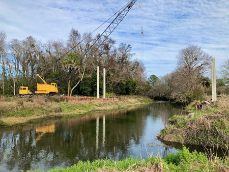 A bridge is being constructed to link the Lake Mayer Community Park path to the Truman Linear Park Trail and points north. When completed, the trail will like Lake Mayer to Daffin Park.