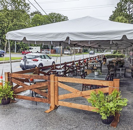 The 5 Spot's tent allows for outdoor dining in Habersham Village.