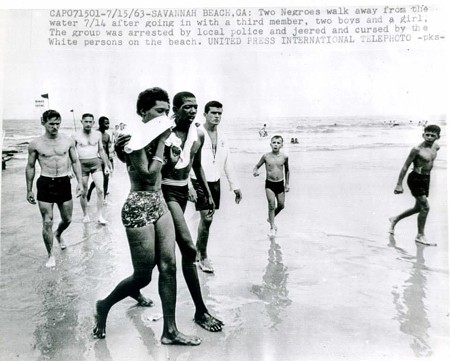 A clipping from a 1963 news article about the first wade-in on Tybee, where Black people were arrested for disrobing on the beach. Photo courtesy of Julia Pearce