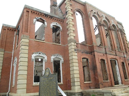 The burned-out Hancock County Courthouse in Sparta, Ga. - JIM MOREKIS