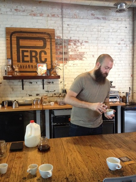 Taylor Wyrosdick will be barista when PERC opens for retail coffee enjoyment on Saturdays; this is Taylor at a recent Friday cupping event.