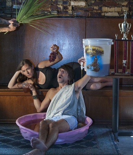 The party god and goddess themselves, Wes and Heather in Hang Fire Bar - GEOFF L. JOHNSON